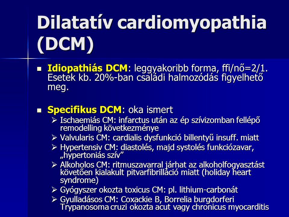 Dilatatív cardiomyopathia (DCM) Klinikai kép: Klinikai kép:  Progresszív balszívfél-elégtelenség terhelési dyspnoeval, majd globális SZE  Ventricularis eredetű ritmuszavarok  Szövődmény:  Artériás és pulmonális emboliák (intracardiális thrombus képződés miatt)  Hirtelen szívhalál Prognózis: Prognózis: EF minél alacsonyabb, annál rosszabb EF minél alacsonyabb, annál rosszabb 10 éves túlélés 10-20% között 10 éves túlélés 10-20% között