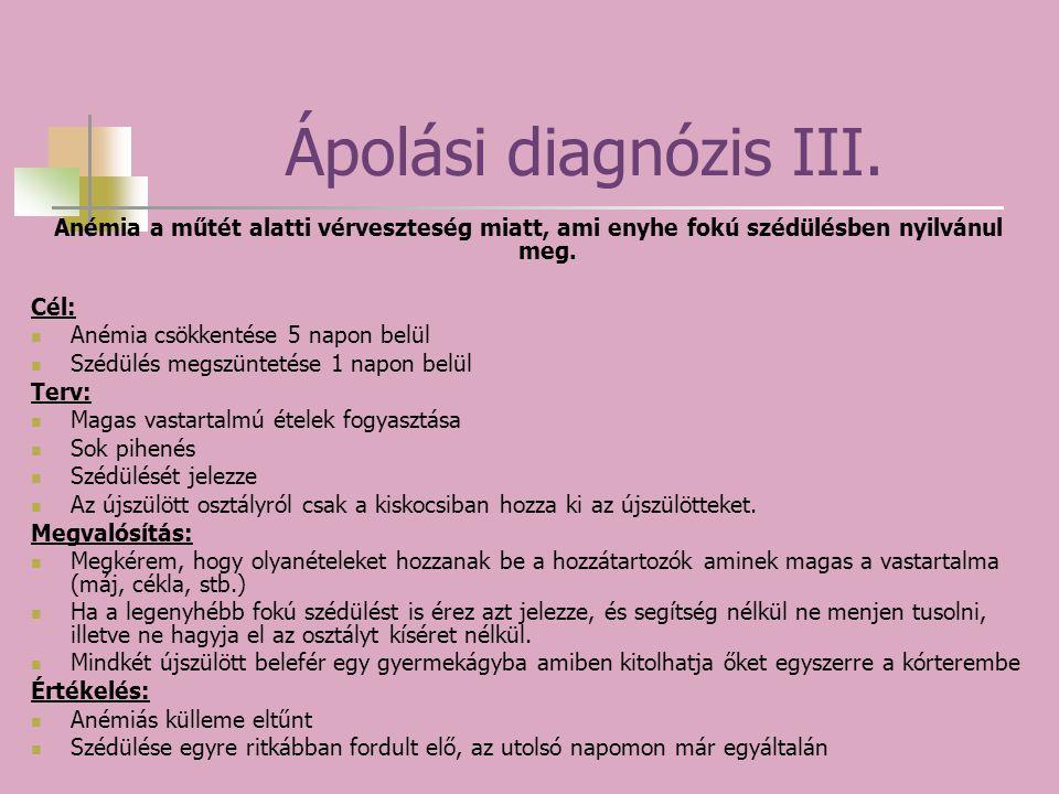 Ápolási diagnózis III. Anémia a műtét alatti vérveszteség miatt, ami enyhe fokú szédülésben nyilvánul meg. Cél: Anémia csökkentése 5 napon belül Szédü