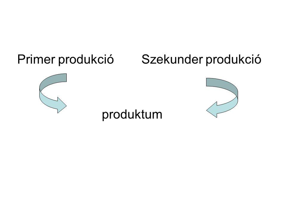 Primer produkció Szekunder produkció produktum