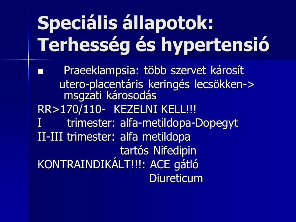 Speciális állapotok: Terhesség és hypertensió Praeeklampsia: több szervet károsít Praeeklampsia: több szervet károsít utero-placentáris keringés lecsö