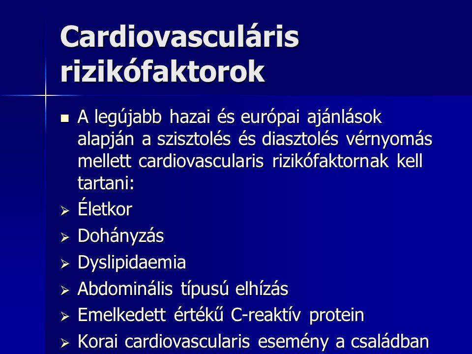 Cardiovasculáris rizikófaktorok A legújabb hazai és európai ajánlások alapján a szisztolés és diasztolés vérnyomás mellett cardiovascularis rizikófakt