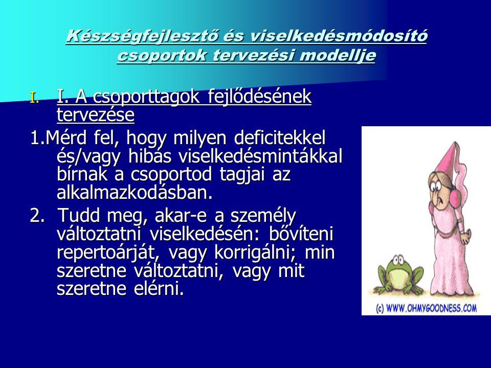 Készségfejlesztő és viselkedésmódosító csoportok tervezési modellje I.
