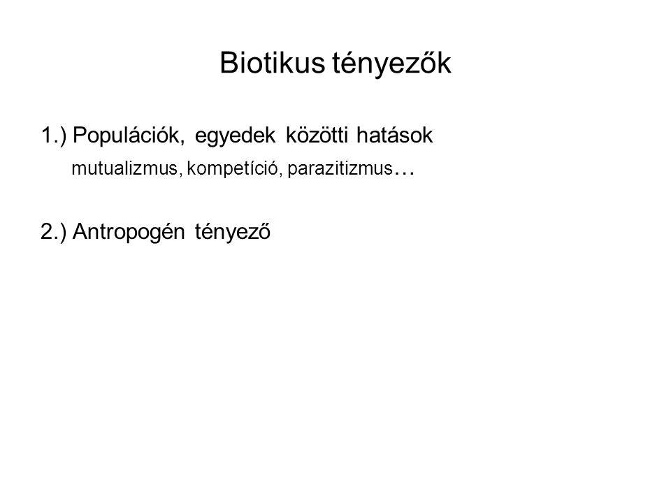 Biotikus tényezők 1.) Populációk, egyedek közötti hatások mutualizmus, kompetíció, parazitizmus … 2.) Antropogén tényező