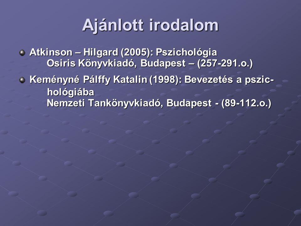 Ajánlott irodalom Atkinson – Hilgard (2005): Pszichológia Osiris Könyvkiadó, Budapest – (257-291.o.) Osiris Könyvkiadó, Budapest – (257-291.o.) Kemény