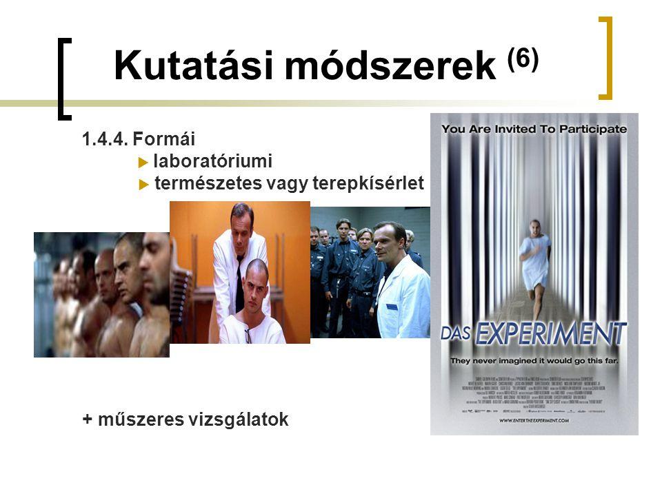 Kutatási módszerek (6) 1.4.4. Formái  laboratóriumi  természetes vagy terepkísérlet + műszeres vizsgálatok
