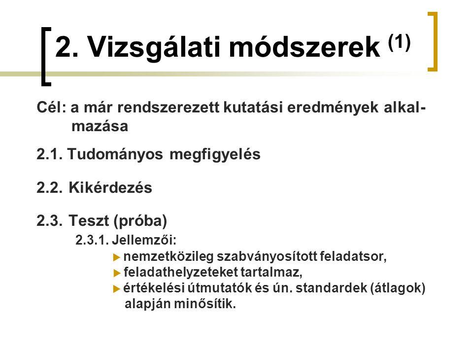 2. Vizsgálati módszerek (1) Cél: a már rendszerezett kutatási eredmények alkal- mazása 2.1. Tudományos megfigyelés 2.2. Kikérdezés 2.3. Teszt (próba)