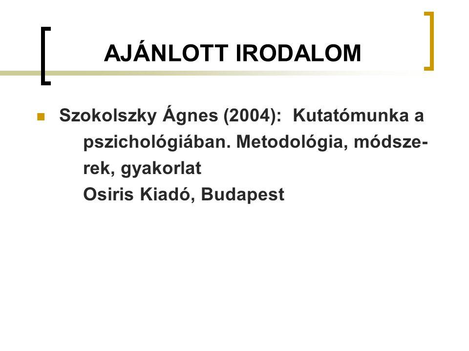 AJÁNLOTT IRODALOM Szokolszky Ágnes (2004): Kutatómunka a pszichológiában. Metodológia, módsze- rek, gyakorlat Osiris Kiadó, Budapest
