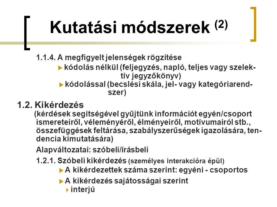 Kutatási módszerek (2) 1.1.4. A megfigyelt jelenségek rögzítése  kódolás nélkül (feljegyzés, napló, teljes vagy szelek- tív jegyzőkönyv)  kódolással