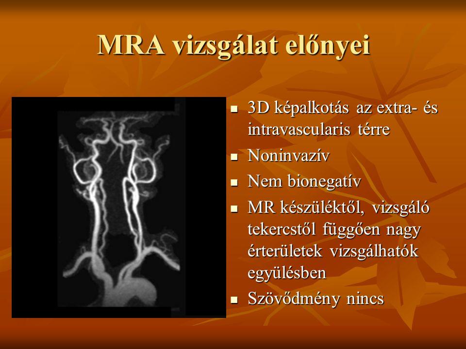 MRA vizsgálat előnyei 3D képalkotás az extra- és intravascularis térre 3D képalkotás az extra- és intravascularis térre Noninvazív Noninvazív Nem bion