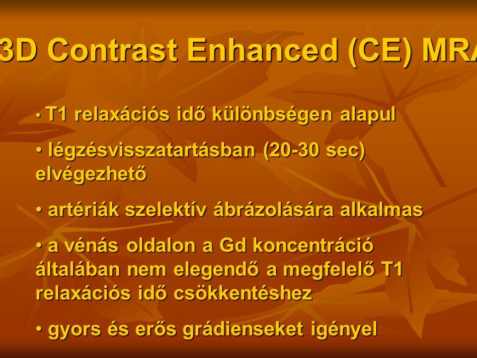 3D Contrast Enhanced (CE) MRA T1 relaxációs idő különbségen alapul T1 relaxációs idő különbségen alapul légzésvisszatartásban (20-30 sec) elvégezhető