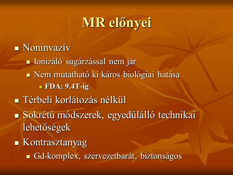 MR előnyei Noninvazív Noninvazív Ionizáló sugárzással nem jár Ionizáló sugárzással nem jár Nem mutatható ki káros biológiai hatása Nem mutatható ki ká