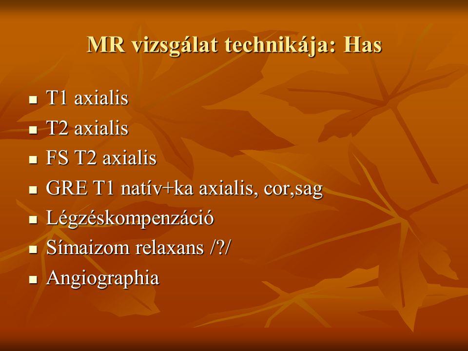 MR vizsgálat technikája: Has T1 axialis T1 axialis T2 axialis T2 axialis FS T2 axialis FS T2 axialis GRE T1 natív+ka axialis, cor,sag GRE T1 natív+ka