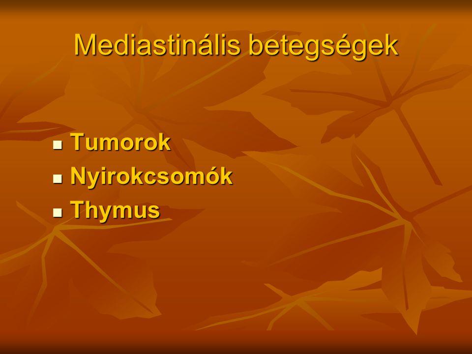 Mediastinális betegségek Tumorok Tumorok Nyirokcsomók Nyirokcsomók Thymus Thymus
