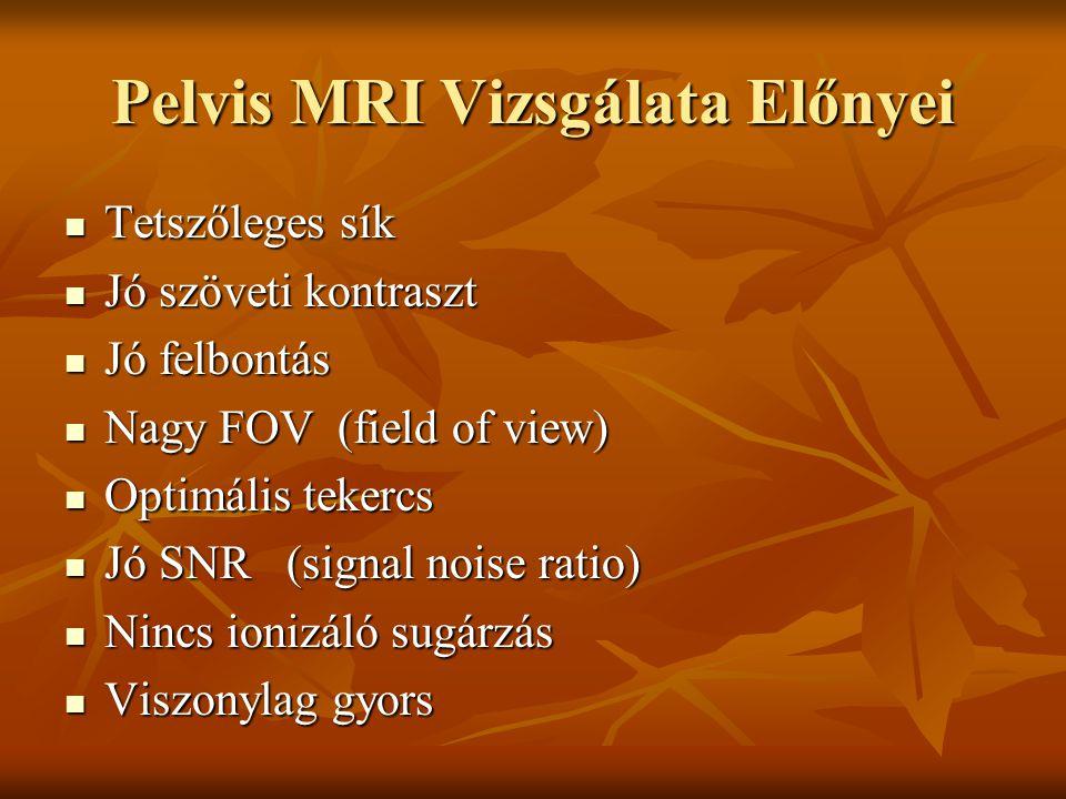 Pelvis MRI Vizsgálata Előnyei Tetszőleges sík Tetszőleges sík Jó szöveti kontraszt Jó szöveti kontraszt Jó felbontás Jó felbontás Nagy FOV (field of v