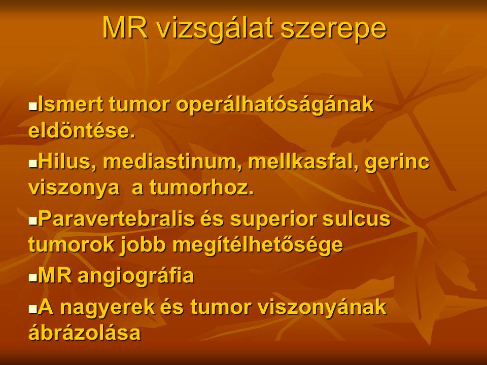 MR vizsgálat szerepe Ismert tumor operálhatóságának eldöntése. Ismert tumor operálhatóságának eldöntése. Hilus, mediastinum, mellkasfal, gerinc viszon