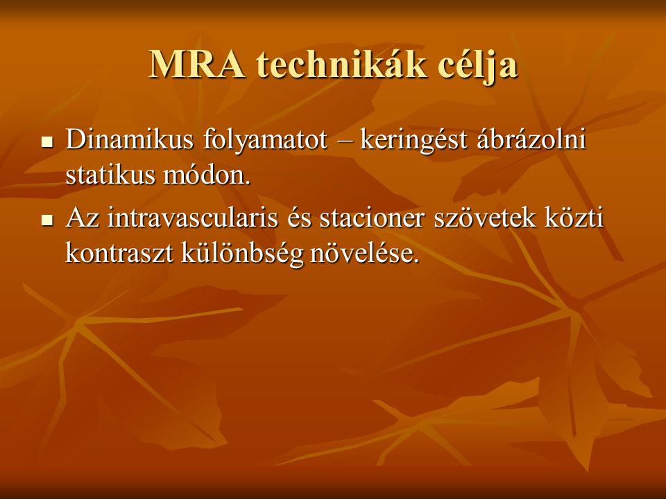 MRA technikák célja Dinamikus folyamatot – keringést ábrázolni statikus módon. Dinamikus folyamatot – keringést ábrázolni statikus módon. Az intravasc