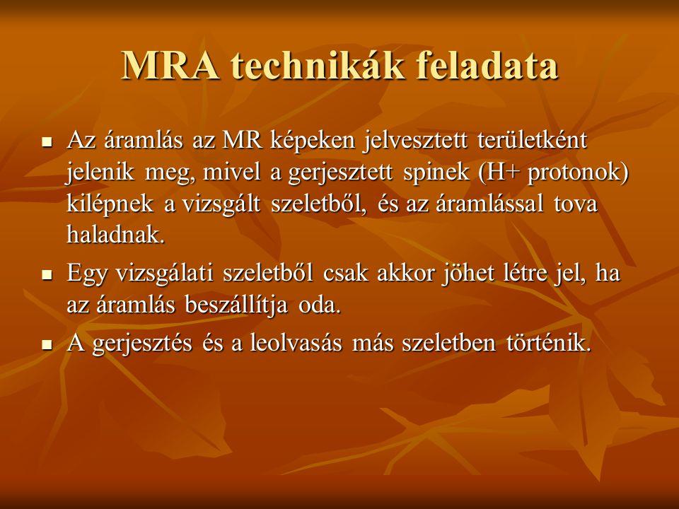 MRA technikák feladata Az áramlás az MR képeken jelvesztett területként jelenik meg, mivel a gerjesztett spinek (H+ protonok) kilépnek a vizsgált szel