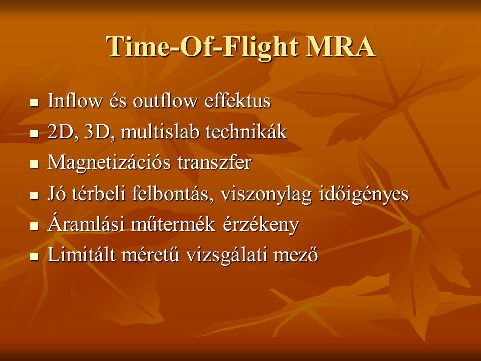 Time-Of-Flight MRA Inflow és outflow effektus Inflow és outflow effektus 2D, 3D, multislab technikák 2D, 3D, multislab technikák Magnetizációs transzf