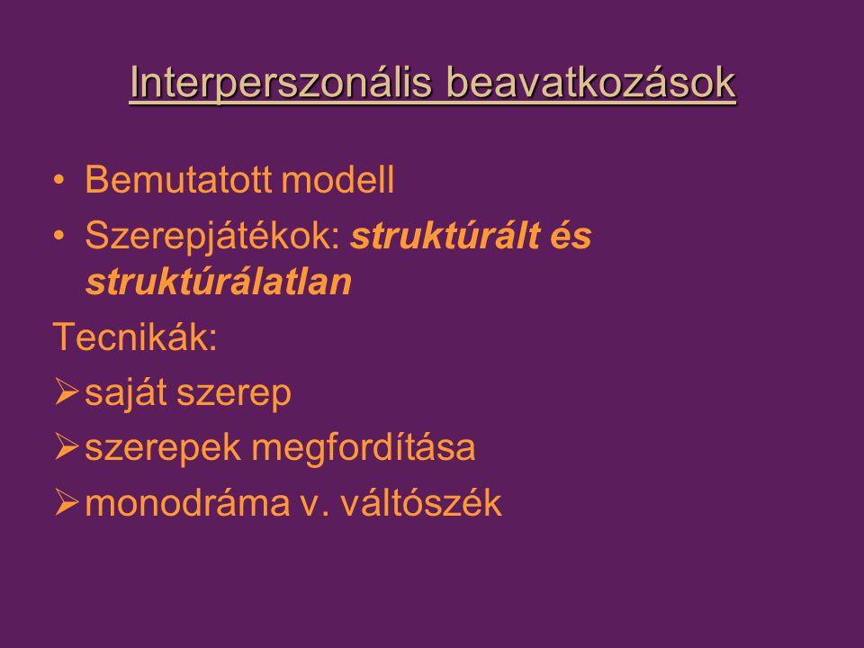 Interperszonális beavatkozások Bemutatott modell Szerepjátékok: struktúrált és struktúrálatlan Tecnikák:  saját szerep  szerepek megfordítása  monodráma v.