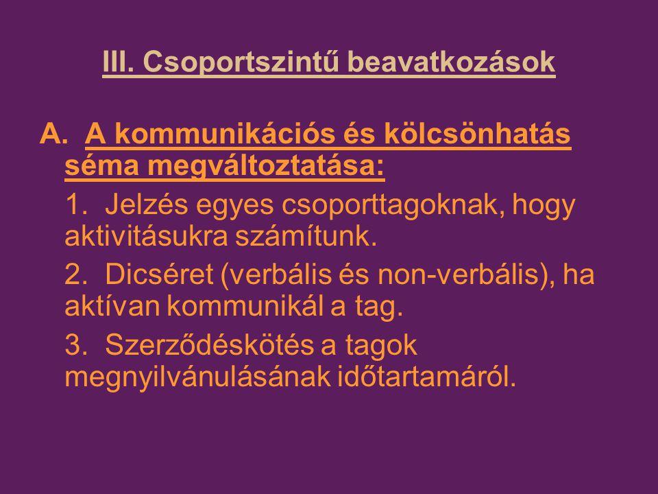 III. Csoportszintű beavatkozások A. A kommunikációs és kölcsönhatás séma megváltoztatása: 1.