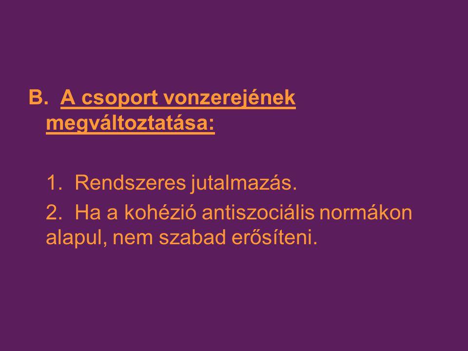 B. A csoport vonzerejének megváltoztatása: 1. Rendszeres jutalmazás. 2. Ha a kohézió antiszociális normákon alapul, nem szabad erősíteni.