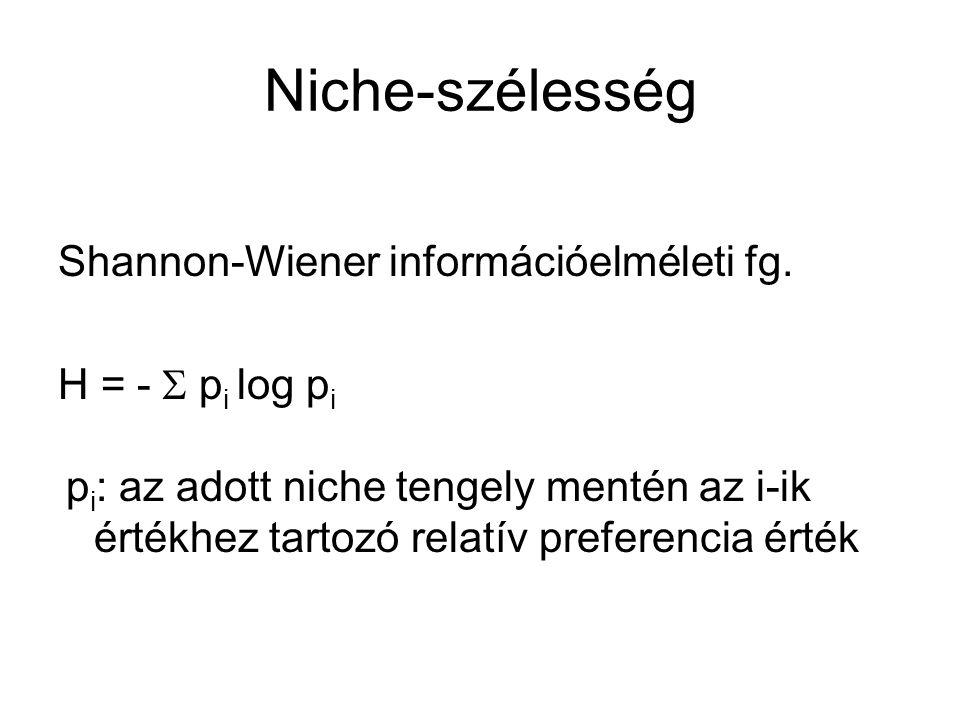 Niche-szélesség Shannon-Wiener információelméleti fg. H = -  p i log p i p i : az adott niche tengely mentén az i-ik értékhez tartozó relatív prefer