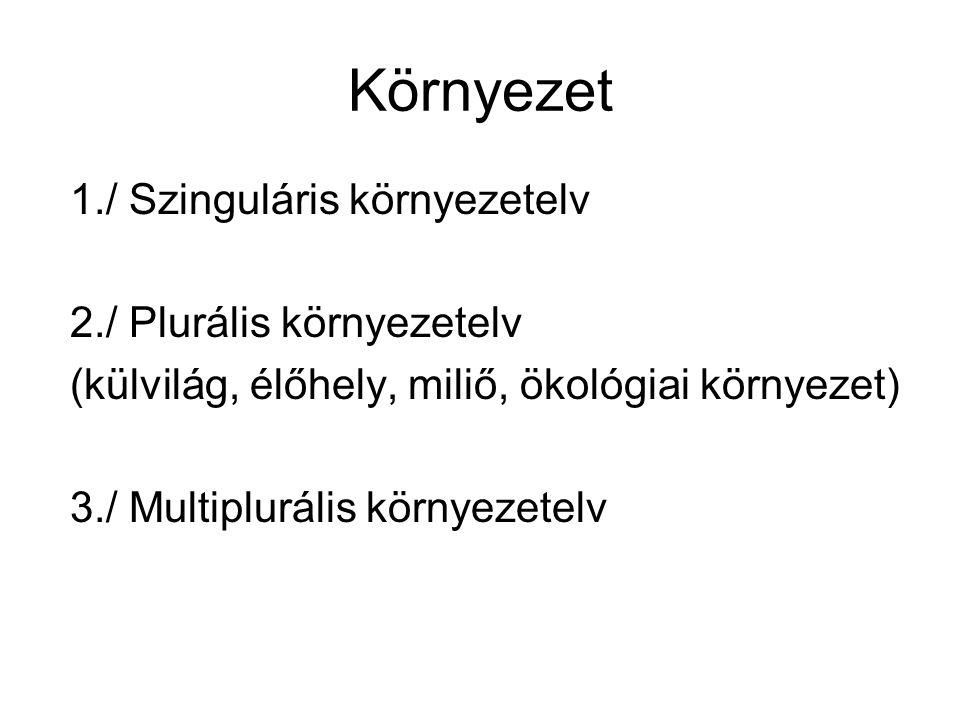 Környezet 1./ Szinguláris környezetelv 2./ Plurális környezetelv (külvilág, élőhely, miliő, ökológiai környezet) 3./ Multiplurális környezetelv