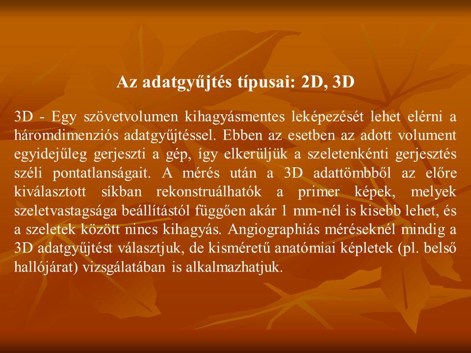 Az adatgyűjtés típusai: 2D, 3D 3D - Egy szövetvolumen kihagyásmentes leképezését lehet elérni a háromdimenziós adatgyűjtéssel.