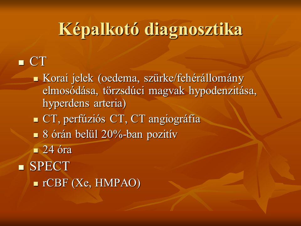 Képalkotó diagnosztika CT CT Korai jelek (oedema, szürke/fehérállomány elmosódása, törzsdúci magvak hypodenzitása, hyperdens arteria) Korai jelek (oedema, szürke/fehérállomány elmosódása, törzsdúci magvak hypodenzitása, hyperdens arteria) CT, perfúziós CT, CT angiográfia CT, perfúziós CT, CT angiográfia 8 órán belül 20%-ban pozitív 8 órán belül 20%-ban pozitív 24 óra 24 óra SPECT SPECT rCBF (Xe, HMPAO) rCBF (Xe, HMPAO)