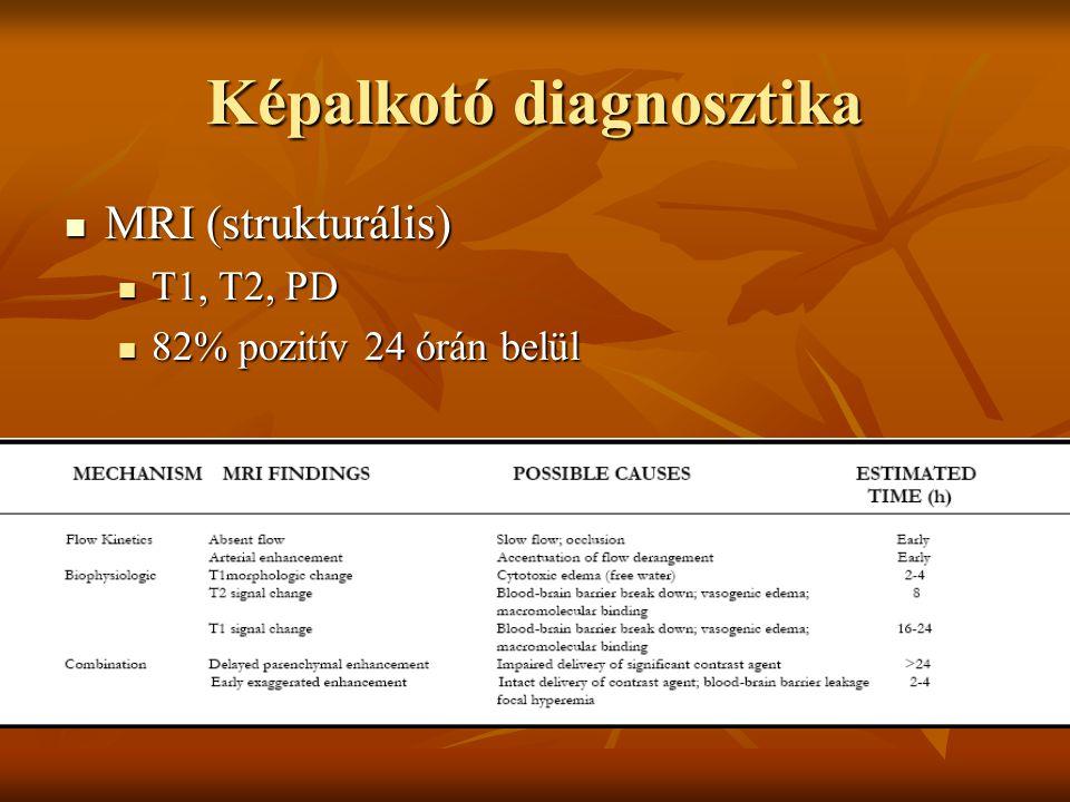 Képalkotó diagnosztika MRI (strukturális) MRI (strukturális) T1, T2, PD T1, T2, PD 82% pozitív 24 órán belül 82% pozitív 24 órán belül