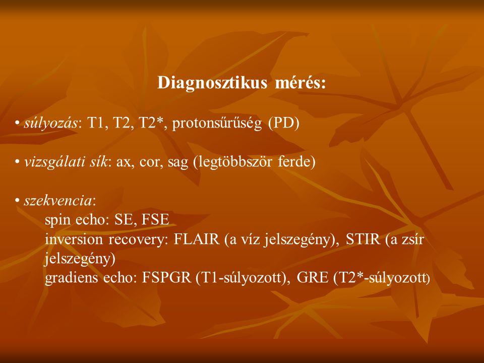 Diagnosztikus mérés: súlyozás: T1, T2, T2*, protonsűrűség (PD) vizsgálati sík: ax, cor, sag (legtöbbször ferde) szekvencia: spin echo: SE, FSE inversion recovery: FLAIR (a víz jelszegény), STIR (a zsír jelszegény) gradiens echo: FSPGR (T1-súlyozott), GRE (T2*-súlyozott )