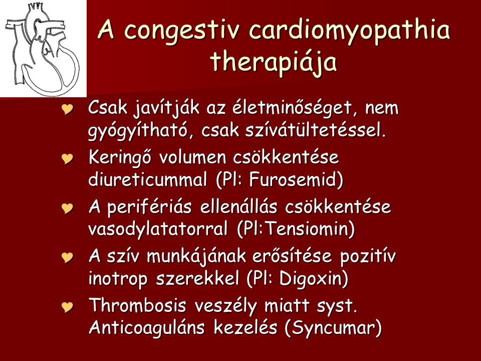 A congestiv cardiomyopathia therapiája  Csak javítják az életminőséget, nem gyógyítható, csak szívátültetéssel.  Keringő volumen csökkentése diureti