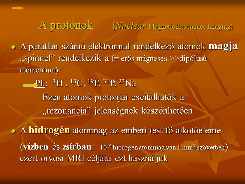 A protonok (Nuclear Magnetic Resonance Imaging) A protonok (Nuclear Magnetic Resonance Imaging) u A páratlan számú elektronnal rendelkező atomok magja