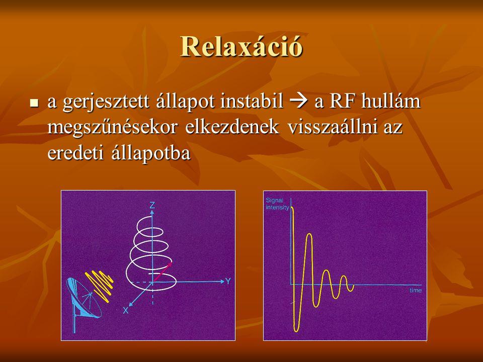 Relaxáció a gerjesztett állapot instabil  a RF hullám megszűnésekor elkezdenek visszaállni az eredeti állapotba a gerjesztett állapot instabil  a RF