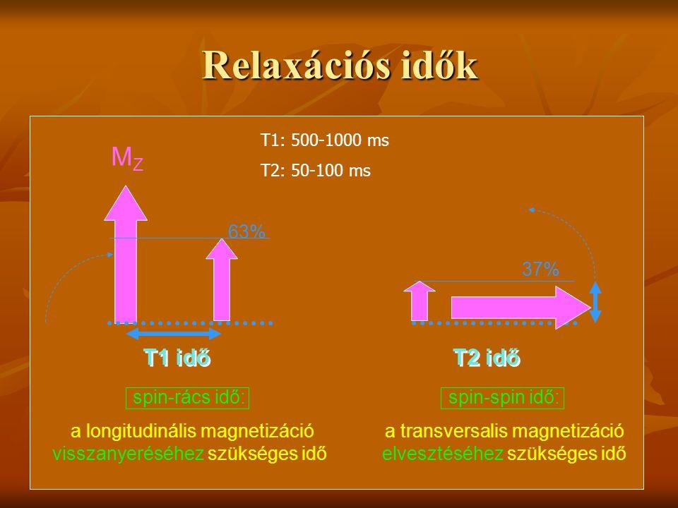 Relaxációs idők 63% MZMZ T1 idő spin-rács idő: a longitudinális magnetizáció visszanyeréséhez szükséges idő spin-spin idő: a transversalis magnetizáci