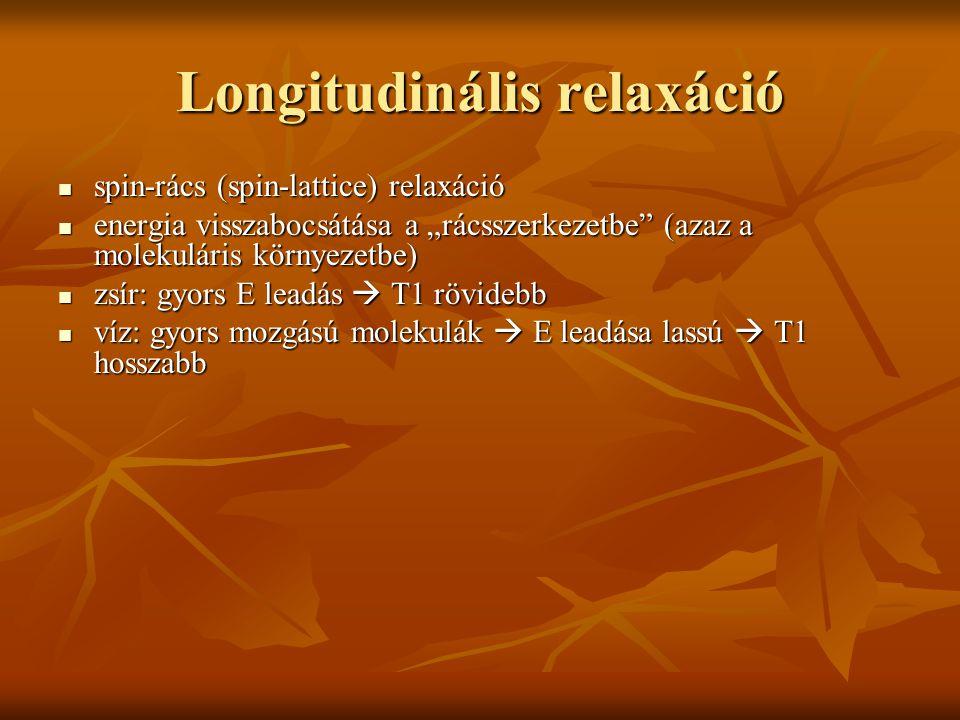 """Longitudinális relaxáció spin-rács (spin-lattice) relaxáció spin-rács (spin-lattice) relaxáció energia visszabocsátása a """"rácsszerkezetbe"""" (azaz a mol"""