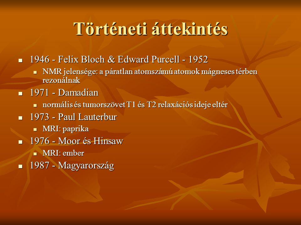 Történeti áttekintés 1946 - Felix Bloch & Edward Purcell - 1952 1946 - Felix Bloch & Edward Purcell - 1952 NMR jelensége: a páratlan atomszámú atomok