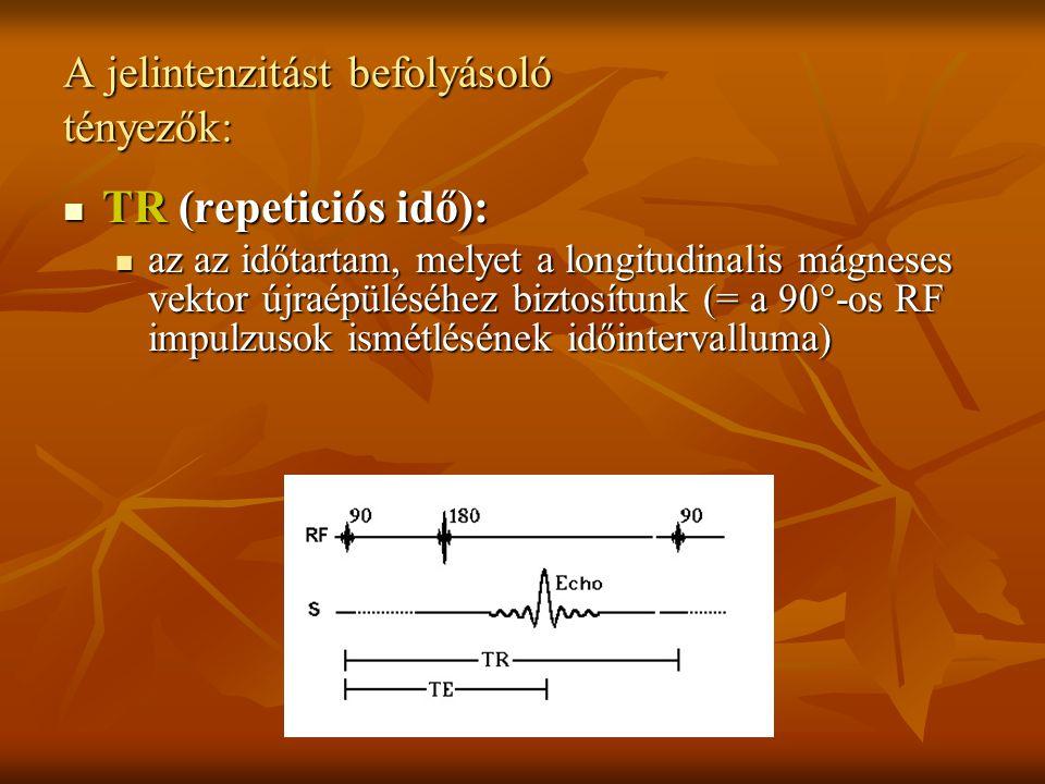 A jelintenzitást befolyásoló tényezők: TR (repeticiós idő): TR (repeticiós idő): az az időtartam, melyet a longitudinalis mágneses vektor újraépüléséh