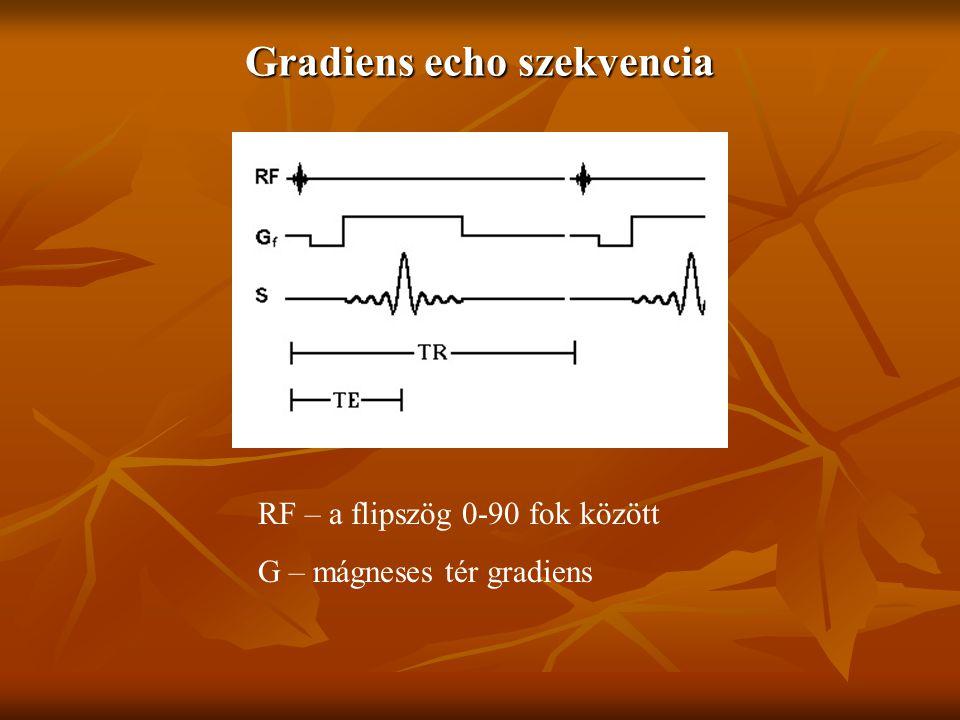 Gradiens echo szekvencia RF – a flipszög 0-90 fok között G – mágneses tér gradiens