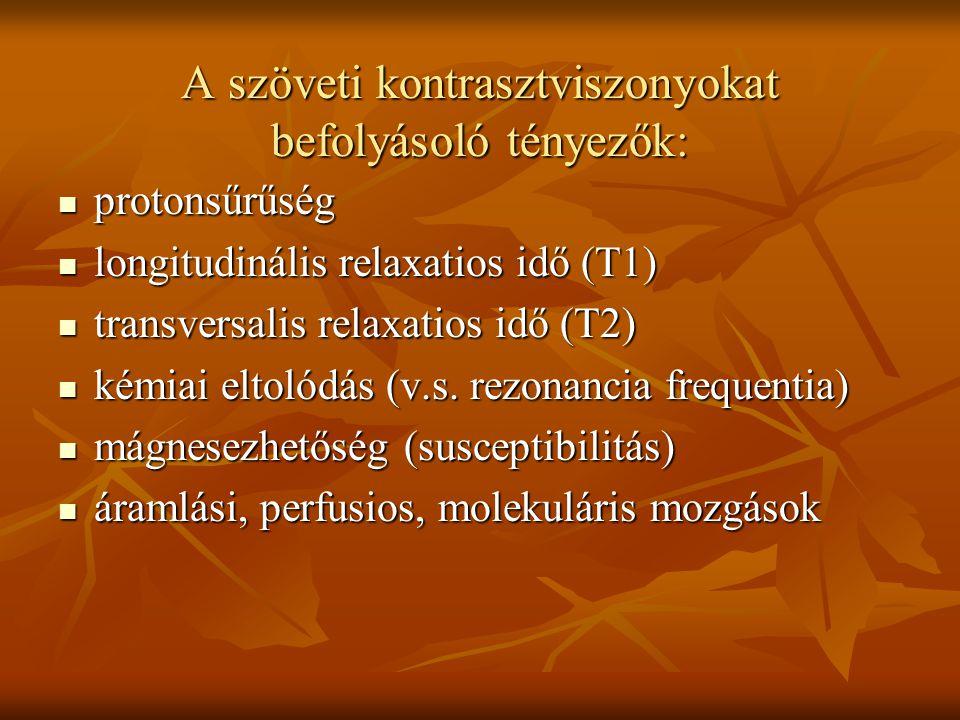 A szöveti kontrasztviszonyokat befolyásoló tényezők: protonsűrűség protonsűrűség longitudinális relaxatios idő (T1) longitudinális relaxatios idő (T1)