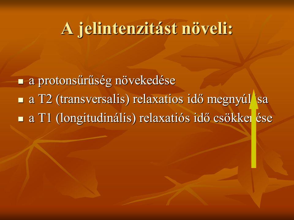 A jelintenzitást növeli: a protonsűrűség növekedése a protonsűrűség növekedése a T2 (transversalis) relaxatios idő megnyúlása a T2 (transversalis) rel
