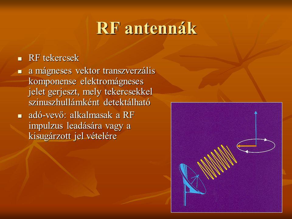 RF antennák RF tekercsek RF tekercsek a mágneses vektor transzverzális komponense elektromágneses jelet gerjeszt, mely tekercsekkel szinuszhullámként
