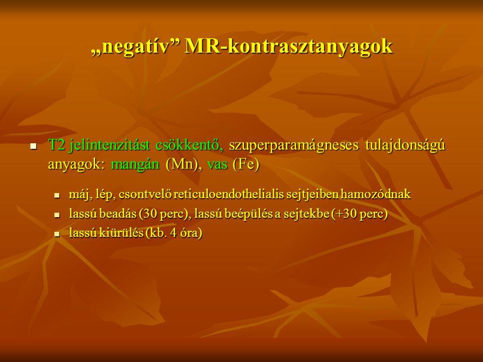 """""""negatív"""" MR-kontrasztanyagok T2 jelintenzitást csökkentő, szuperparamágneses tulajdonságú anyagok: mangán (Mn), vas (Fe) T2 jelintenzitást csökkentő,"""