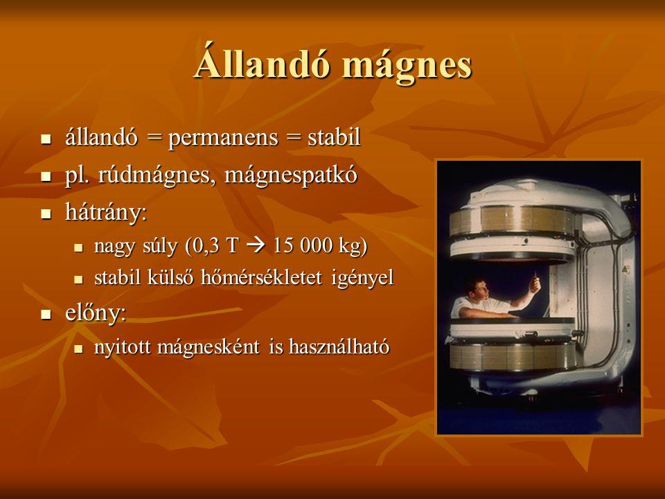 Szupravezető mágnes szupravezető = szuperkonduktív szupravezető = szuperkonduktív egyes fémek 4 K (=-269°C) hőmérsékleten szupravezetővé válnak, azaz elektromos ellenállásuk megszűnik egyes fémek 4 K (=-269°C) hőmérsékleten szupravezetővé válnak, azaz elektromos ellenállásuk megszűnik tekercs: niobium-titánium ötvözet tekercs: niobium-titánium ötvözet hűtés: cryogének (folyékony hélium, nitrogén) hűtés: cryogének (folyékony hélium, nitrogén) előny: előny: stabil, tartós, homogén mágneses tér stabil, tartós, homogén mágneses tér nagy térerő nagy térerő hátrány: cryogének miatt drága hátrány: cryogének miatt drága