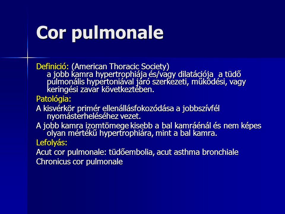 """Balszívfél-elégtelenség  Asthma cardiale: éjszakai köhögés+rohamokban jelentkező orthopnoe (""""szívbajsejtek a köpetben= haemosiderin tartalmú alveolaris makrophagok)  Tüdőoedema orthopnoéval, habos köpet, szörtyzörej  Cyanosis (pulmonalis funkciózavar+megnövekedett perifériás O 2 felhasználás)"""