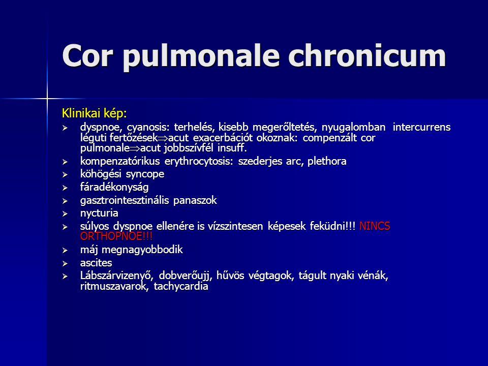 Cor pulmonale chronicum Klinikai kép:  dyspnoe, cyanosis: terhelés, kisebb megerőltetés, nyugalomban intercurrens léguti fertőzések  acut exacerbáci
