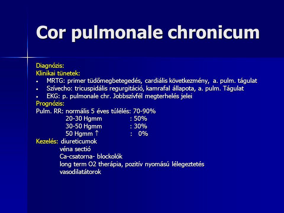 Cor pulmonale chronicum Diagnózis: Klinikai tünetek: MRTG: primer tüdőmegbetegedés, cardiális következmény, a. pulm. tágulat MRTG: primer tüdőmegbeteg
