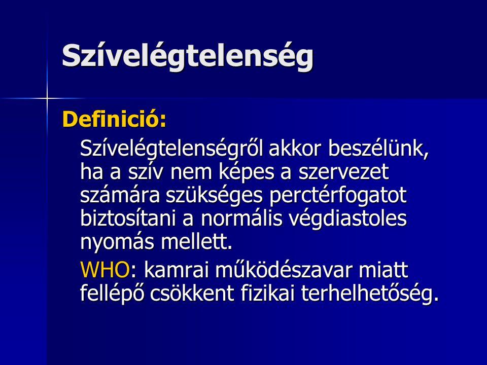 Szívelégtelenség Definició: Szívelégtelenségről akkor beszélünk, ha a szív nem képes a szervezet számára szükséges perctérfogatot biztosítani a normál