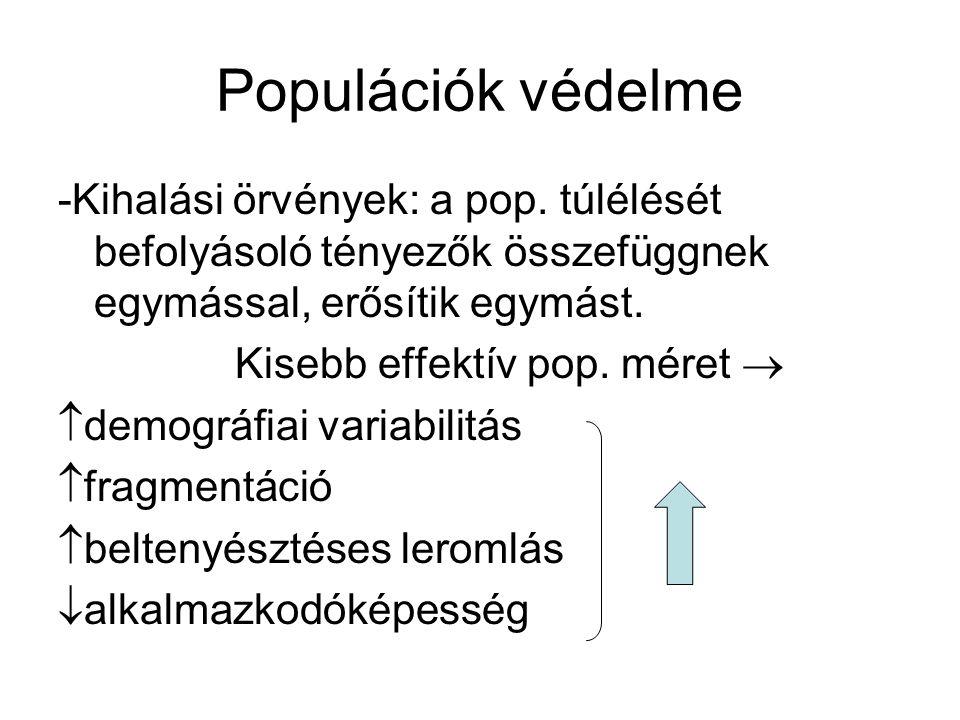 Populációk védelme -Minimális életképes pop.