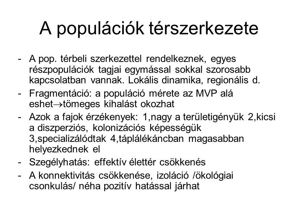 A populációk térszerkezete -Metapopulációk: a nem homogén térszerkezettel rendelkező populációk -Kialakulása: 1,foltos élőhely benépesülésével 2, egységes pop.